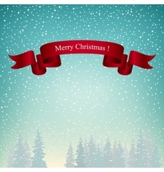 Merry christmas landscape in turquoise shades vector