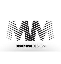 Mm m m lines letter design with creative elegant vector