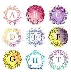 monogram template with flourishes calligraphic vector image