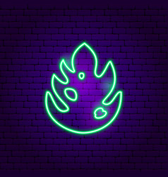 monstera leaf neon sign vector image