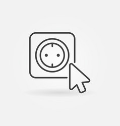 mouse click on smart socket outline icon vector image