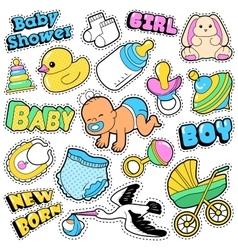 New born bastickers patches badges scrapbook vector
