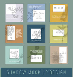 nine paper white blank with shadow for your design vector image