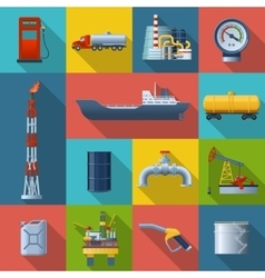 Oil Industry Square Icon Set vector image