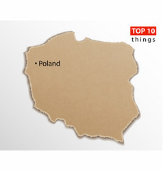poland map on craft paper texture template for vector image