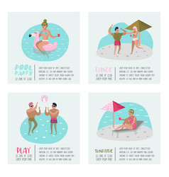 Pool party poster set banner people swimming vector