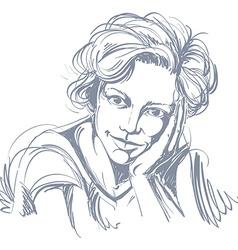 Portrait of delicate dreamy good-looking woman vector