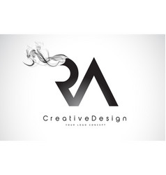 Ra letter logo design with black smoke vector