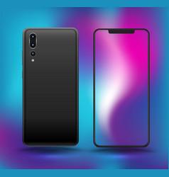 Realistic smartphones mockups blue colour vector
