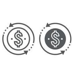 Return on investment line and glyph icon vector