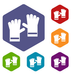 rubber gloves icons set vector image