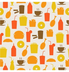 seamless background with fast food vector image