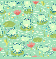 seamless pattern with frogs in pond graphics vector image