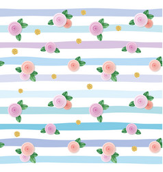 Seamless pattern with roses and gold glitter polka vector