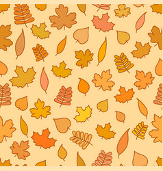 seamless pattern with yellow and orange leaves vector image