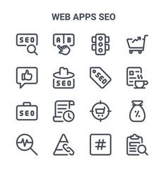Set 16 web apps seo concept line icons 64x64 vector