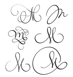Set of art calligraphy letter m with flourish vector