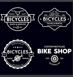 set of vintage and modern bike shop logo badges vector image