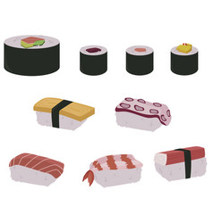 set sushi rolls and hand sushi vector image