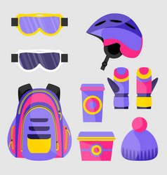 Skiing snowboarding accessories - helmet vector