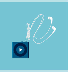 Small mp3 player sketch with white headphones vector