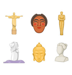 statue icon set cartoon style vector image