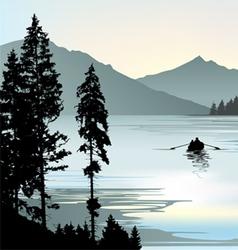 Sunrise on lake vector