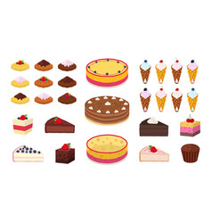 sweet cakes waffles muffins brownies set vector image