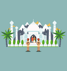 Taj mahal guarded soldiers indian royal family vector