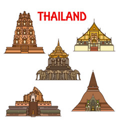 Thai temples and stupas icons travel landmark vector