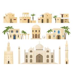 Traditional arabic houses set flat vector