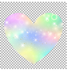Unicorn with rainbow mesh heart icon vector