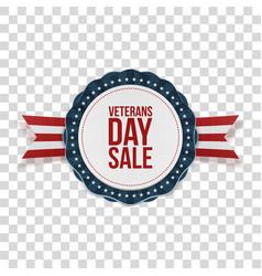 Veterans day sale realistic patriotic emblem vector