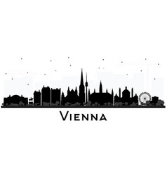 Vienna austria city skyline silhouette with black vector