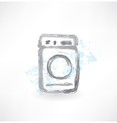 Washing machine grunge icon vector