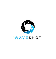 Wave with camera lens photography logo concept vector