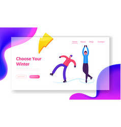 Winter city activities website landing page snow vector