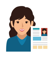 Woman avatar with curriculum vitae document icon vector