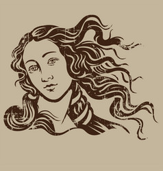 Woman with hair blowing girl vintage illust vector