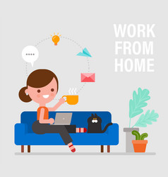 Work from home happy young woman sitting on sofa vector