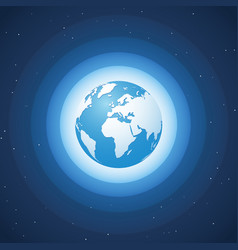 world globe on blue wave background europe vector image