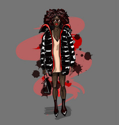 black fashion girl in big coat with bag vector image