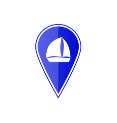 blue map pointer with sailing boat vector image vector image