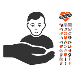 customer support hand icon with love bonus vector image