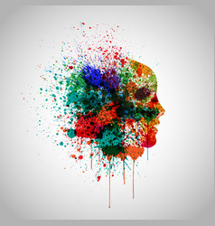 colorful face made by spilled paint vector image