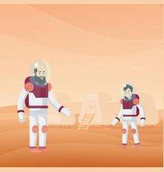 flat mars exploration template vector image