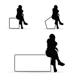 girl silhouette siting on white banner vector image