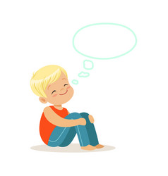 happy blonde little boy dreaming with a thought vector image vector image