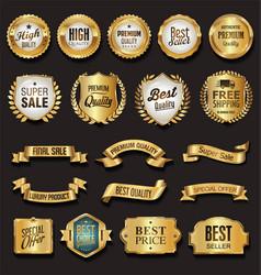 retro vintage golden badges vector image vector image