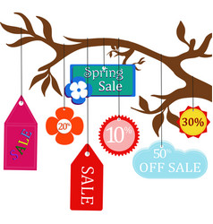 sale labels hanging on a branch vector image
